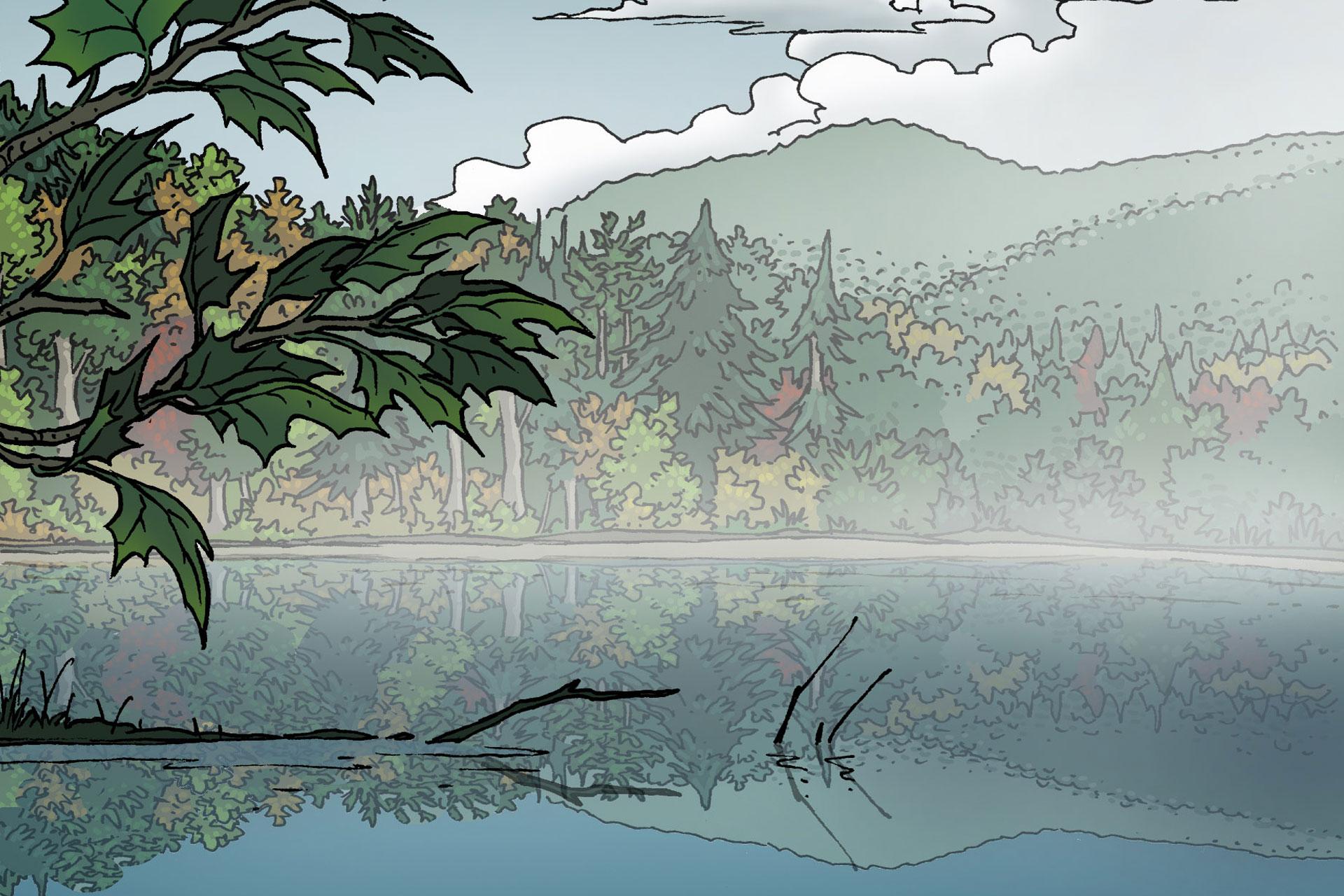 Dessin représentant le lac Hertel entouré de la forêt en début d'automne