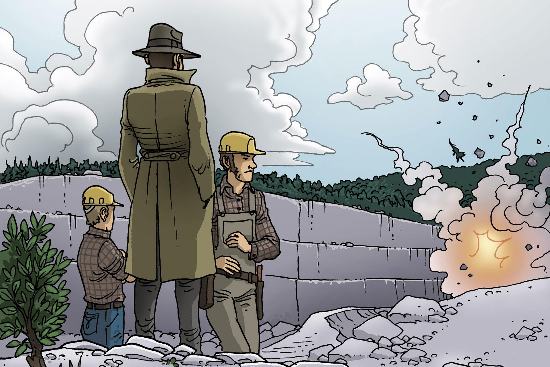 Dessin représentant 3 personnes regardant une explosion de roche sur la montagne, la forêt en arrière-plan