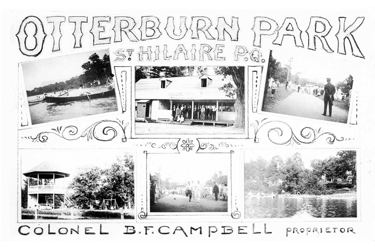 Ancienne carte postale en noir et blanc avec six petites photographies des activités qui se déroulaient à l'époque, les inscriptions indiquent « Otterburn Park, St Hilaire P.Q., Colonel B.F Campbell proprietor »