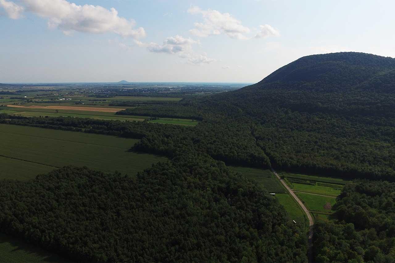 Vue aérienne du piémont d'un des flancs du mont Saint-Hilaire, la forêt laisse peu à peu place aux parcelles agricoles