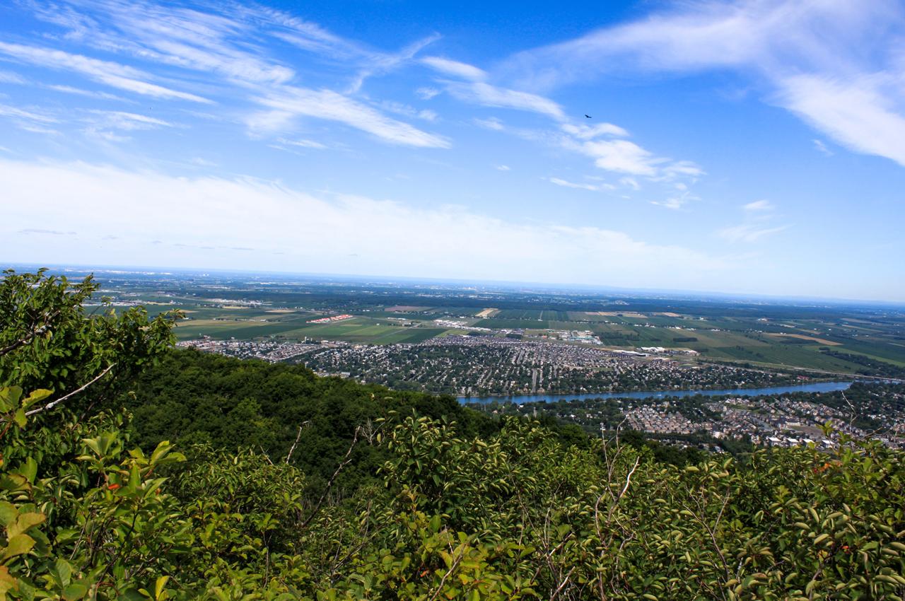 Vue depuis un des sommets du mont Saint-Hilaire sur la roche et la végétation du sommet de la montagne
