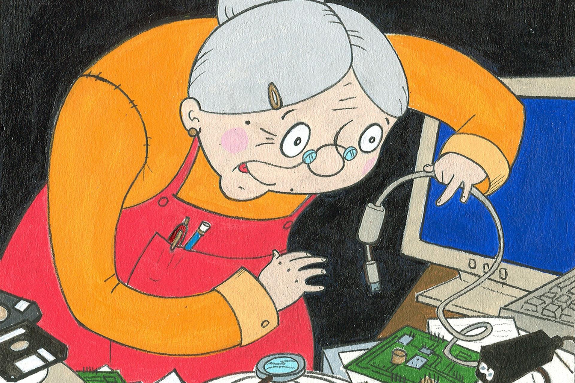 Dessin représentant une vieille dame découvrant le système électrique d'un ordinateur