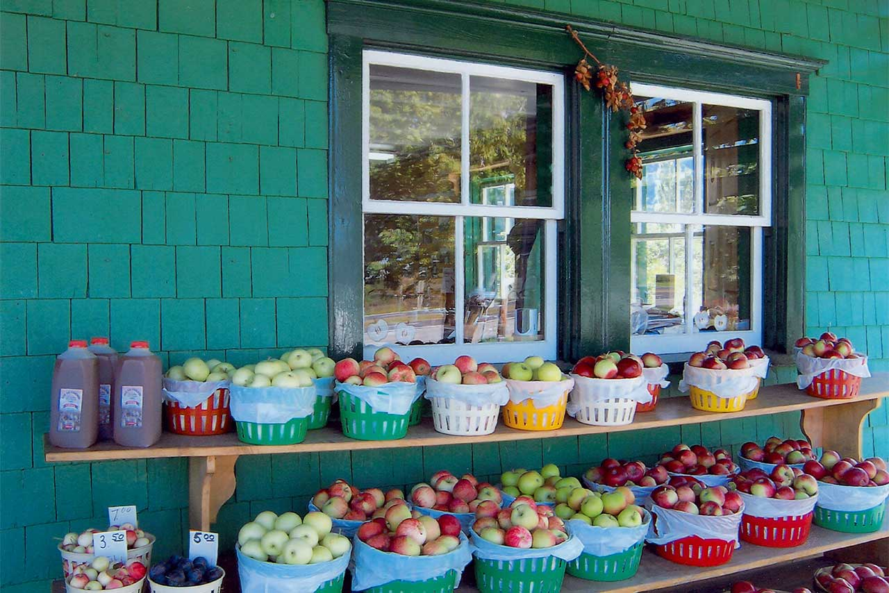 Paniers de pommes à vendre devant la fenêtre d'une maison verte en bois